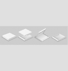 white boxes open packaging set realistic vector image