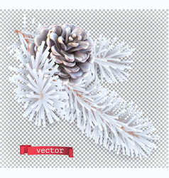white pine cone christmas decoration 3d realistic vector image