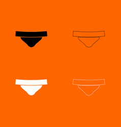 womens panties black and white set icon vector image
