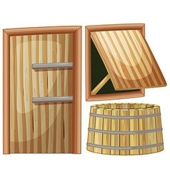 Wooden door and window vector