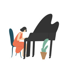 young woman playing grand piano female pianist vector image