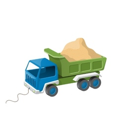 Colorful dump truck toy with sand vector image vector image
