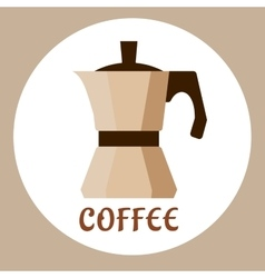 Flat beige coffee maker icon vector
