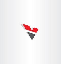 red black letter v logo logotype v icon vector image vector image