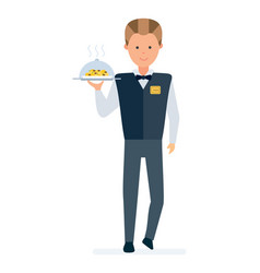 restaurant waiter takes order brings a dish vector image vector image