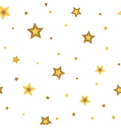 Stars seamless pattern gold white 3D vector image