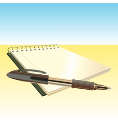 elegant pen and notebook vector image vector image