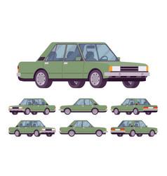 green sedan set vector image