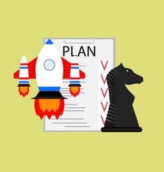 Plan strategy and tactics of launching startup vector