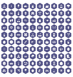 100 agriculture icons hexagon purple vector