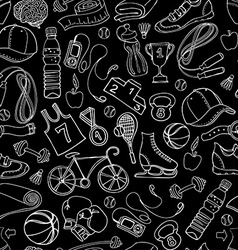 Black and white Sport and fitness seamless doodle vector image