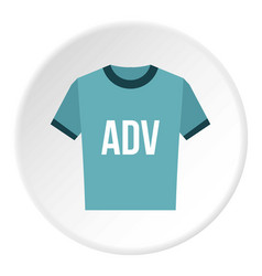 blue shirt with adv inscription icon circle vector image vector image