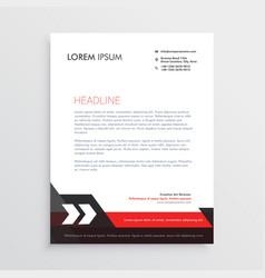 red black letterhead template design vector image vector image
