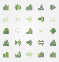 soundwave colorful icons set vector image vector image