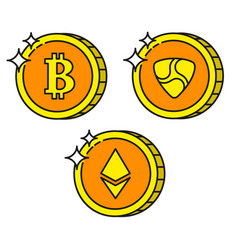 cryptocurrency black outline gold icons ethereum vector image