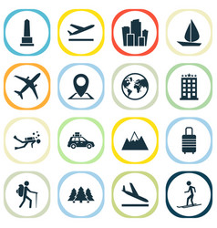 Exploration icons set includes icons such as vector