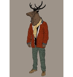 Hipster deer vector image