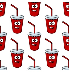 Seamless pattern of a takeaway beverage vector
