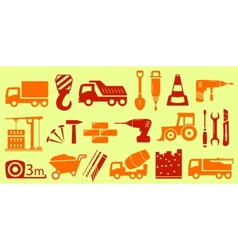 set isolated object for construction industry vector image vector image