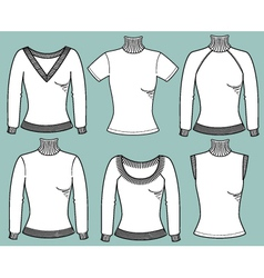 Warm pullovers for women vector