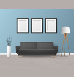 3d realistic render black sofa couch vector