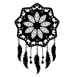 a silhouette of a dream catcher vector image