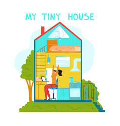 Abstract schematic tiny house its interior vector