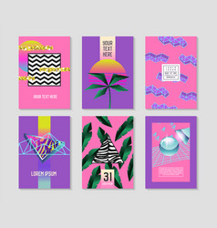 Abstract tropical posters set with palm leaves vector