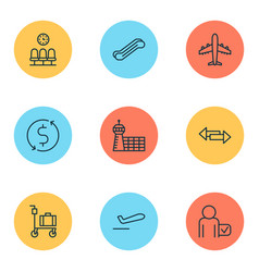 airport icons set with airliner crossroad vector image