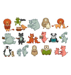 Animals childish book isolated characters wildlife vector