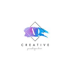 Aq artistic watercolor letter brush logo vector