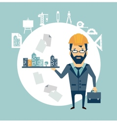 architect holding a model of the city in the palm vector image vector image