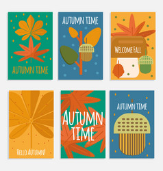 Autumn foliage cards in flat style vector