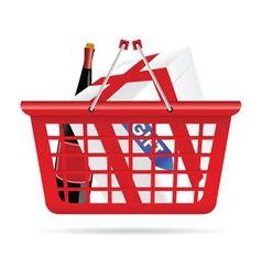 Basket for supermarket with gift vector