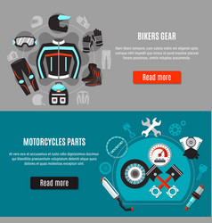 Biker accessories horizontal banners vector