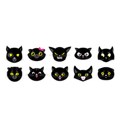 black cats faces isolated flat kittens halloween vector image