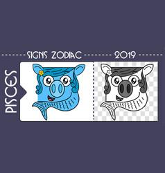 Black zodiac pig pisces vector