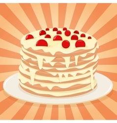 Cake on a plate vector image