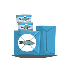 Canned fish seafood production fish industry vector