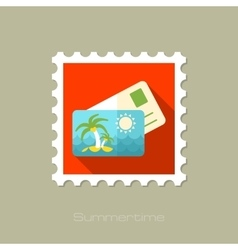 Card with palm flat stamp long shadow vector