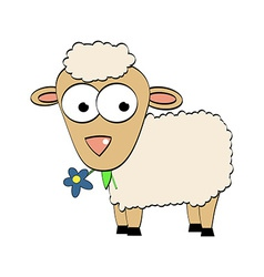 Cartoon Character Cute Sheep Symbol of 2015 Year vector image vector image