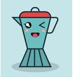 Cartoon coffee maker with facial expression vector