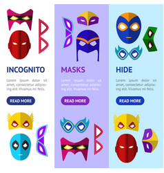 Cartoon superhero mask banner vecrtical set vector