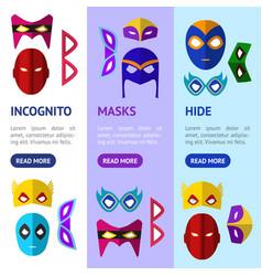 cartoon superhero mask banner vecrtical set vector image