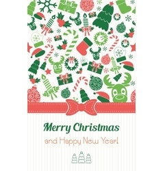Christmas card in retro style Typography Flat vector image