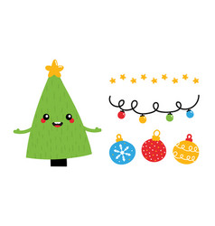 christmas icons and decorations set vector image