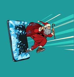 Christmas online sales concept santa claus comes vector