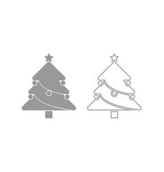 christmas tree icon grey set vector image