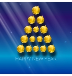 Christmas tree made from yellow balls vector