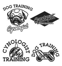 Color vintage cynologist emblems vector